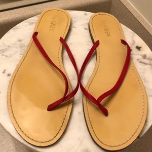 J Crew red leather flip flops